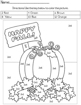 Happy Fall Multiplication Color By Code by Ms Crow | TpT