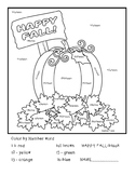 Happy Fall Number Words Coloring Page Printable
