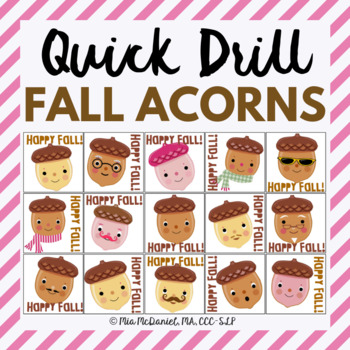 Happy Fall Quick Drill {for articulation or fluency therapy & RtI}