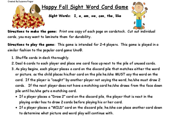 Happy Fall Sight Word Game PK-1