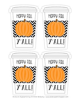 Happy Fall Y'all Tags - Pumpkin