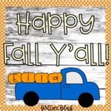 Fall Bulletin Board | Blue Truck and Pumpkins Name Craft
