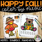 Color by Note for Fall & Autumn {Color by Music Symbol, No