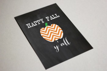 Happy Fall Y'all Poster Printable, 8x10, 11x14, Chevron Chalkboard