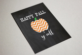 Happy Fall Y'all Poster Printable, 8x10, 11x14, Chevron Ch