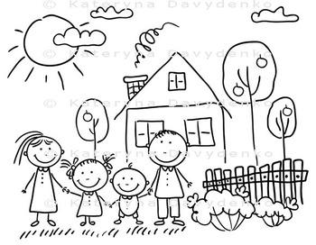 Happy Family Near Their House