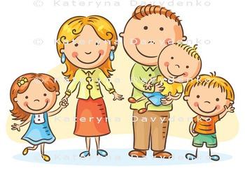 Happy Family with Three Children