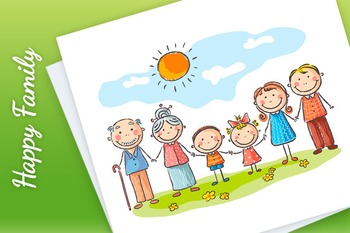 Happy Family with Two Children and Grandparents