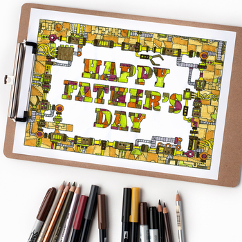 """Happy Father's Day Mechanical Coloring Page - 8.5 x 11"""" PDF coloring page"""