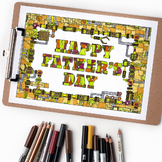 "Happy Father's Day Mechanical Coloring Page - 8.5 x 11"" PD"