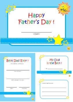 Happy Father's Day. Mini Book and Certificate.