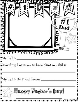 Father's Day writing Frame Freebie