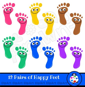 Happy Feet Footprints Clip Art Set