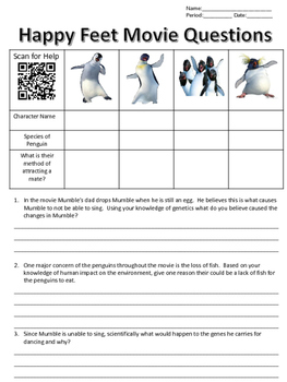 happy feet movie questions by finding science teachers pay teachers. Black Bedroom Furniture Sets. Home Design Ideas