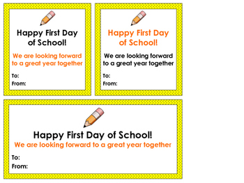 Happy First Day of School Cards/Tags