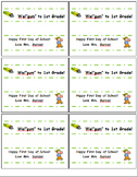 """Happy First Day of School Gift Labels for packs of gum- Wel""""gum"""" to 1st Grade!"""