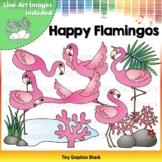 Happy Flamingos Clip Art