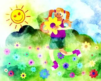 Happy Flower Girl Clipart Illustration
