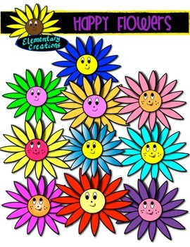 Happy Flowers (Clipart)
