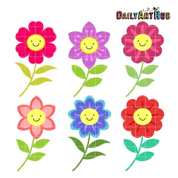 Happy Flowers Clip Art - Great for Art Class Projects!