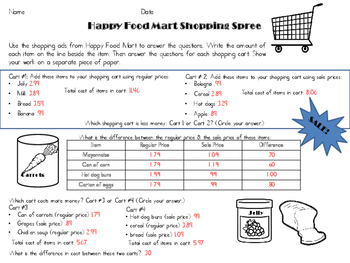 Happy Food Mart: Adding and Subtraction Decimals