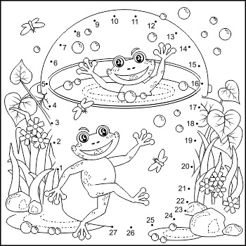 Happy Frogs Connect the Dots Puzzle and Coloring Page, Commercial Use Allowed