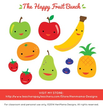 Happy Fruit Bunch Clip Art (cute and colorful fruit set!)