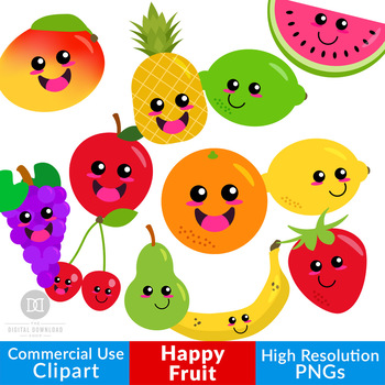 Happy Fruit Clipart Cute Fruit Graphics Kawaii Fruit Healthy Food Clipart