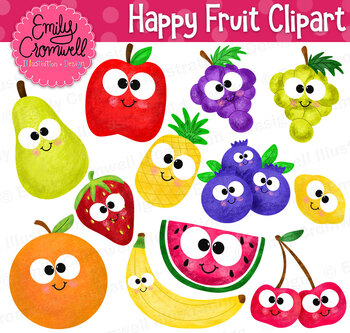 Happy Fruit Digital Clipart
