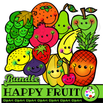 Happy Fruit Gang - Doodle Clip Art Bundle