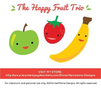 Happy Fruit Trio Clip Art (apple, banana, strawberry)