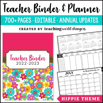 Hippie Floral Teacher Binder