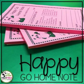 Happy Go Home Positive Behavior Note