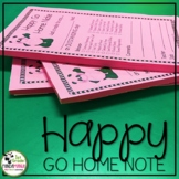 Positive Notes Home to Parents Happy Go Home Note