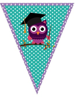 Happy Graduation *Owls* Pennant Banner-Chevron and Polka Dots