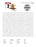 Happy Groundhog Day Word Search - difficult + Coloring Page   (SUB PLAN use?)