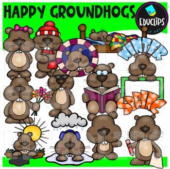 Happy Groundhogs Clip Art Bundle {Educlips Clipart}