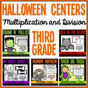 Happy Halloween - 5 Third Grade Math Center Games- Multiplication and Division