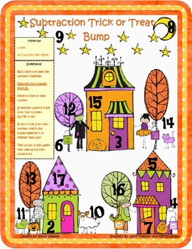 Happy Halloween!  Addition and Subtraction Bump Math Games (1.OA.6, 2.OA.2)