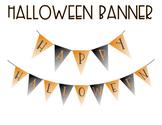 Happy Halloween Banner - Black and Orange