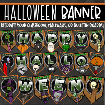 Happy Halloween Banner Pennant Sign Posters Display Bulletin Board Decoration