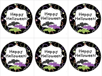 Happy Halloween Bats Treat Tags