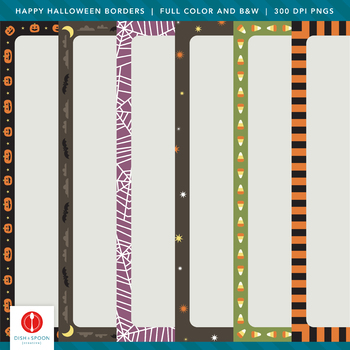 Happy Halloween Borders - Color and B&W