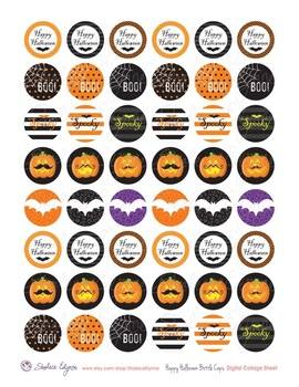 Happy Halloween Bottle Caps Printable Collage Sheet