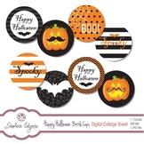 Happy Halloween Bottle Caps Printable Collage Sheet