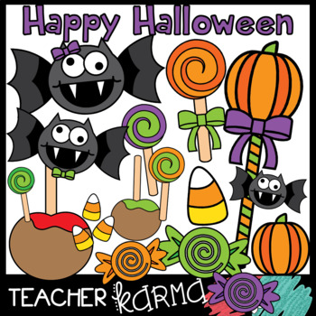 Happy Halloween & Candy Clipart