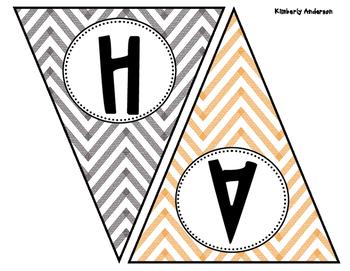 Happy Halloween Chevron Banner / Pennant