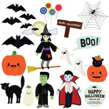 Happy Halloween Clip Art Set