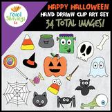 Happy Halloween Clip Art Set | 34 Hand Drawn Halloween Images!