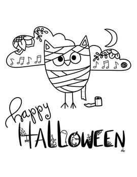 Halloween Posters with 7 different background  and BW coloring page